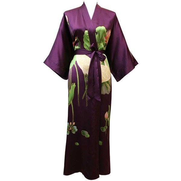 Silk Kimono Robes for Women ❤ liked on Polyvore featuring intimates, robes, gowns, kimono, asian, kimono bathrobe, silk robe, silk bathrobe, kimono robe and silk kimono