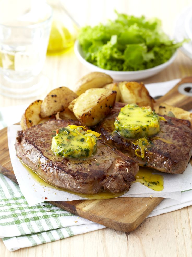 Grilled steak with a selection of zingy flavoured spreads - excellent #ManFood!