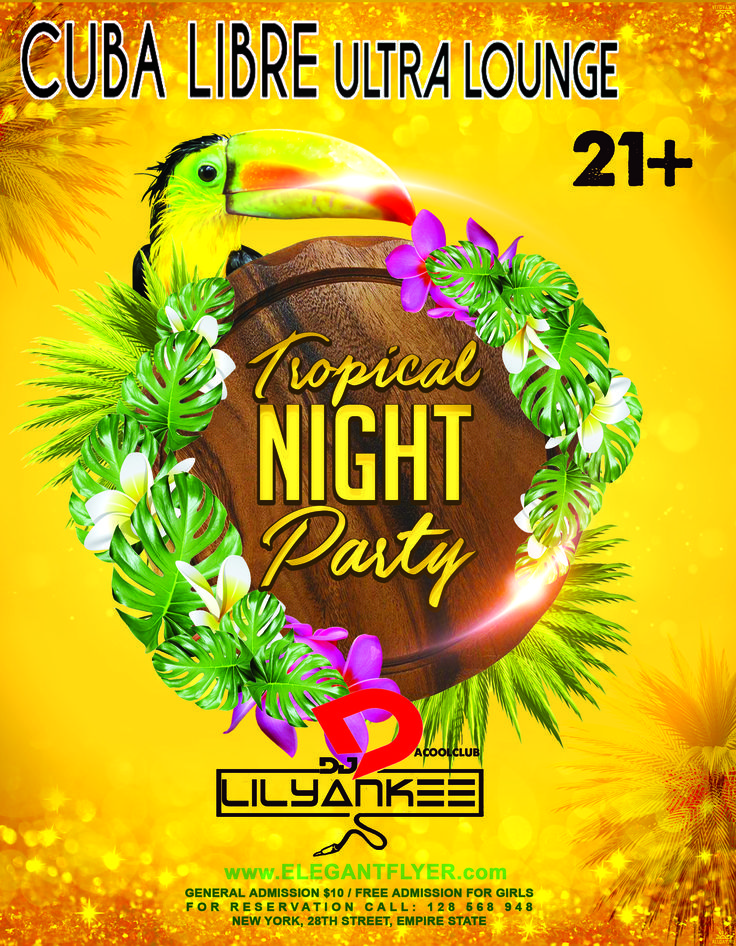 Enjoy the best Tropical Latin music tomorrow with DJ Lil Yankee as he plays the hottest songs of salsa, merengue, bachata and more! Ladies get in FREE till 11pm and drink FREE! Doors open @ 8pm!
