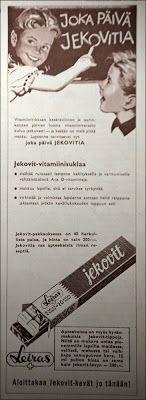 Jekovit-vitamiinisuklaa -mainos,  Kotiliesi-lehti (50-luvun lopulta)