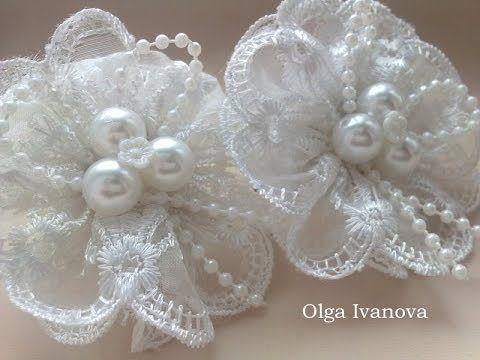▶ Цветок Канзаши Мастер Класс Своими Руками Flower Кanzashi Hand Made - нежный бело- розовый цветок) - YouTube