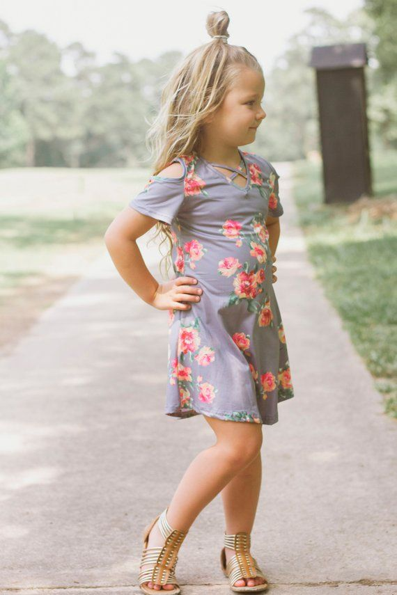 9d0627593f23 Grey Floral Dress, Blush Toddler Dress, Charcoal Toddler Dress, Cold  Shoulder Dress, Cold Shoulder T