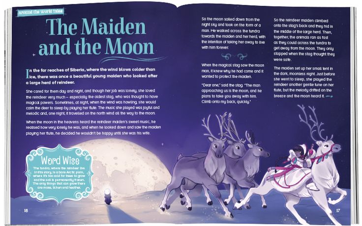 A sample of Storytime 28's Around the World Tale from Siberia, featuring magical reindeer and art by Kadi Fedoruk ~ STORYTIMEMAGAZINE.COM