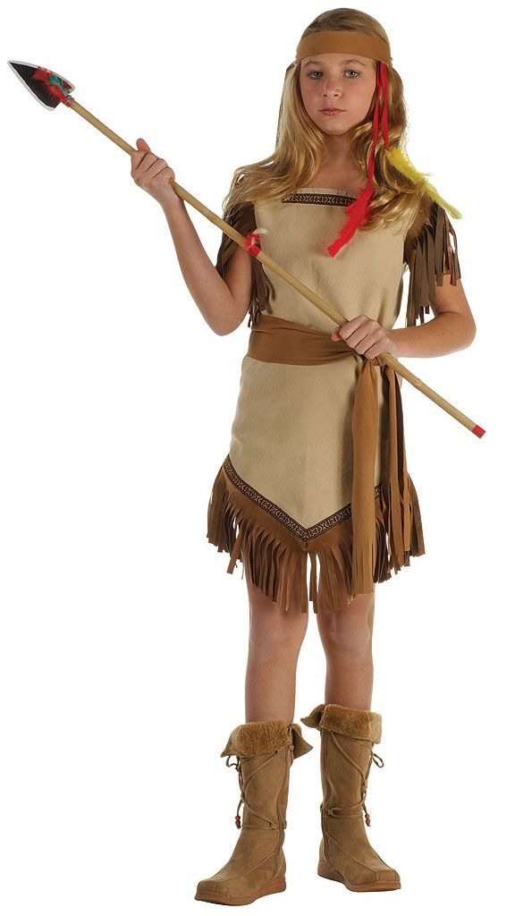Feel a part of a Native American tribe during dress-up play in our Indian Princess Kids Costume. Girls will be brave as a warrior and pretty as a princess in this authentic style. Our kids Indian Princess Costume includes a knee-length faux suede tan dress featuring brown fringe and decorative trim, brown waist sash belt and a coordinating brown headband with dangling feathers. It makes dress-up an interactive and fun experience whether she is a fan of their culture, stories of cowboys…