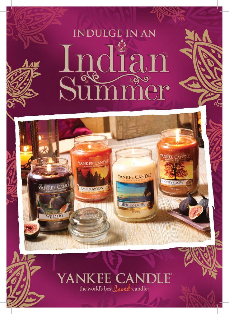 Njut av höstens värme och solnedgångar medan du låter dig omslutas av de lyxiga aromerna i Yankee Candles nya Indian Summer. #IndianSummer #AmberMoon #GingerDusk #HoneyGlow #WildFig #YankeeCandle