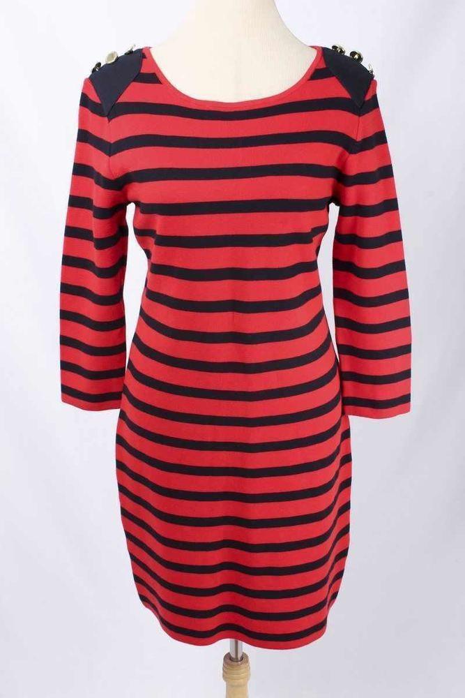 Adrienne Vittadini Size L Red & Navy Striped Button Detail Knit Dress 2981 T717    eBay