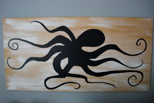 octopus artwork - plywood and paint