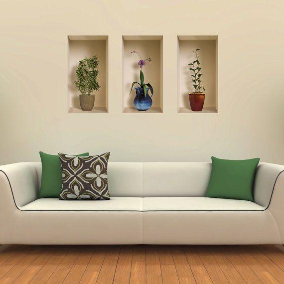 new set 3 pcs elongated plants WALL STICKER 3D art by SBstore