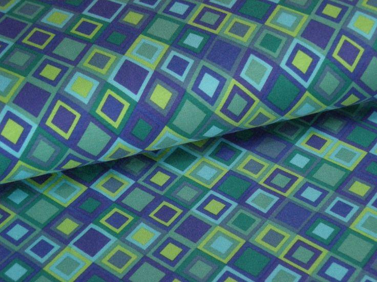 Stoff grafische Muster - Baumwoll-Jersey Raute grün blau - ein Designerstück von meinkaro bei DaWanda