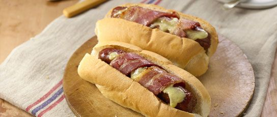 Bacon and Cheese Wrapped Hot Dogs