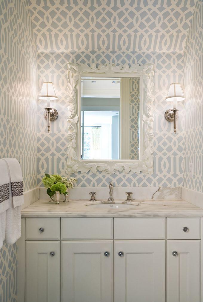 grey + white + citron: Bathroom Design, Idea, Small Bathroom, Half Bath, Interiors, Trellis Wallpapers, Powder Rooms, Design Bathroom, Bathroom Wallpapers