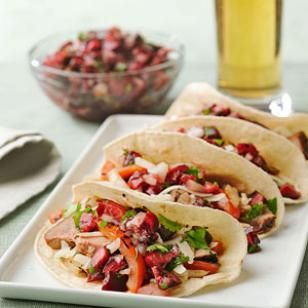 Grilled Pork Fajitas with Smoky Cherry Salsa - skip the cheese and serve these sweet, smoky fajitas in sprouted grain, brown rice or or spelt tortillas.