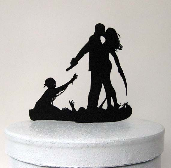 Custom Wedding Cake Topper  Zombieland Silhouette by Plasticsmith, $40.00