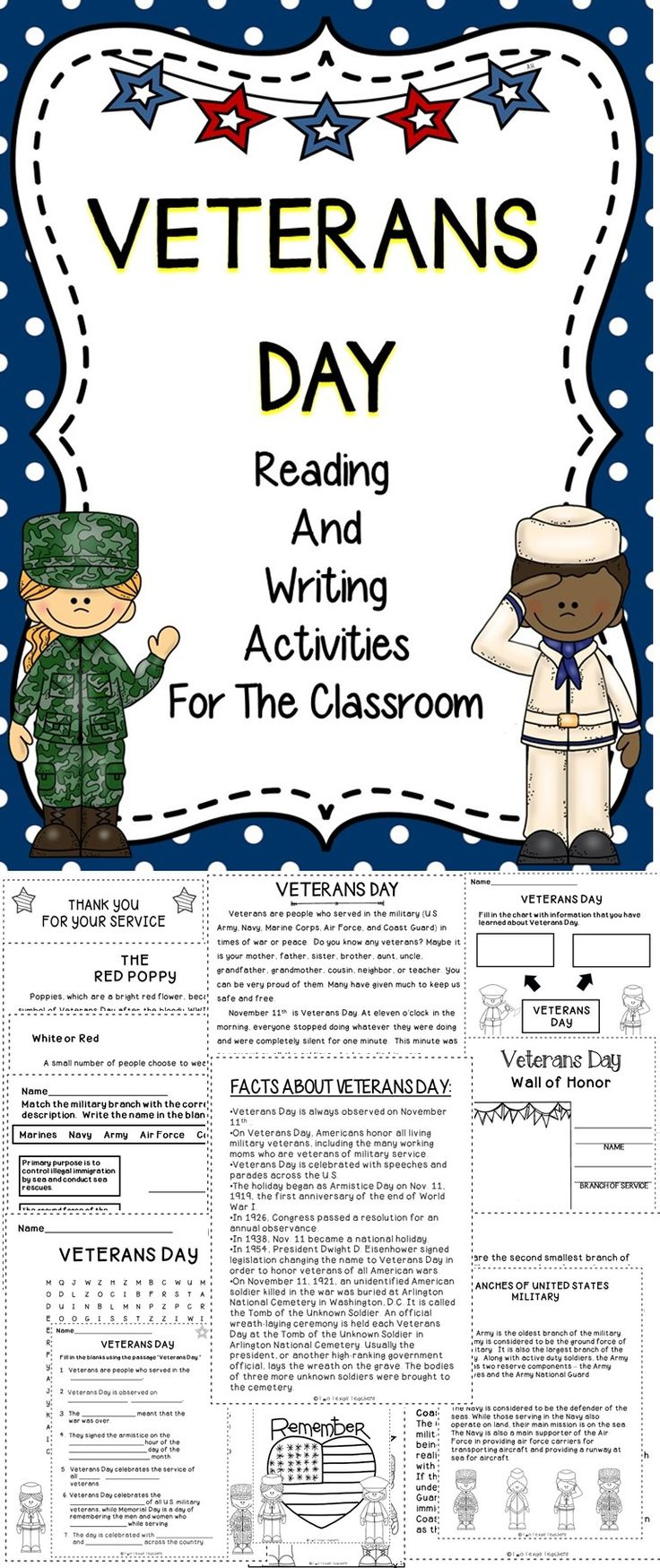 Veterans Day - This Veterans Day Supplemental Resource Provided Engaging Lessons To Celebrate This Important Holiday! This Veterans Day Resource Includes Reading And Writing Activities For The Classroom!