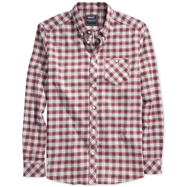 WeSC Pita Plaid Flannel Shirt ($24) ❤ liked on Polyvore featuring men's fashion, men's clothing, men's shirts, men's casual shirts, ketchup red, mens red flannel shirt, mens red shirt, mens plaid flannel shirts, mens red tartan shirt and mens flannel shirts