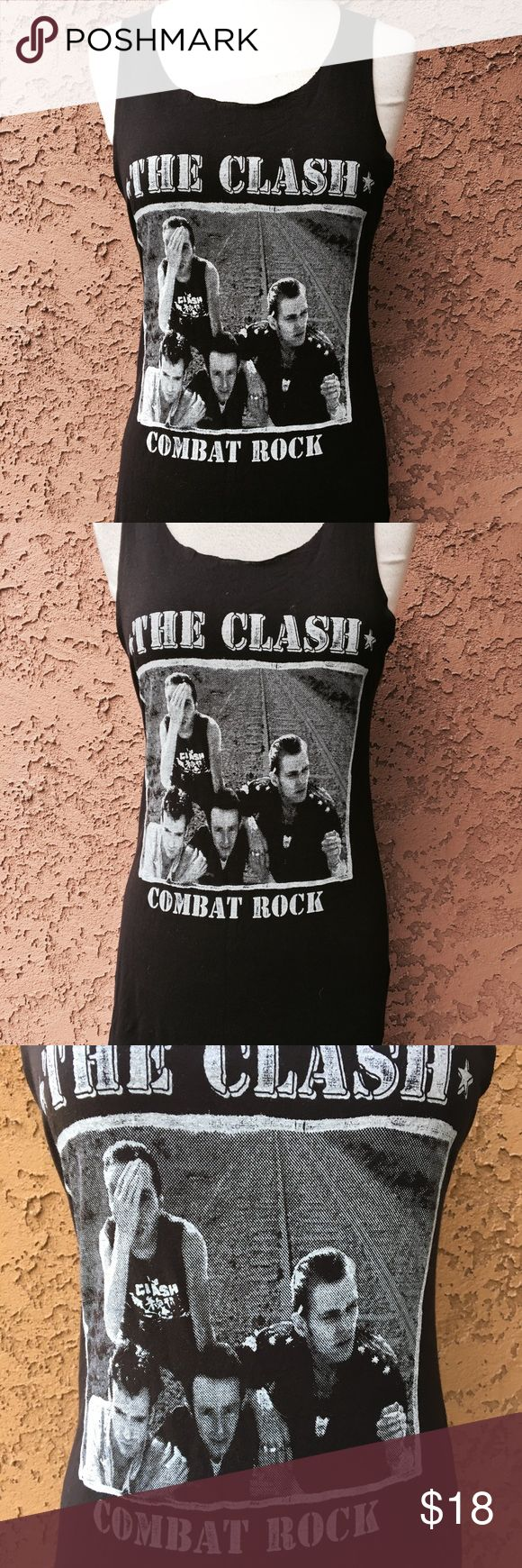 "The Clash combat rock reproduction print Top M Armpit to armpit: 17"" Neck to bottom: 24"" Condition: Awesome. Never used. Purposely hands neck and bottom cut. See pictures. unbranded Tops Tank Tops"
