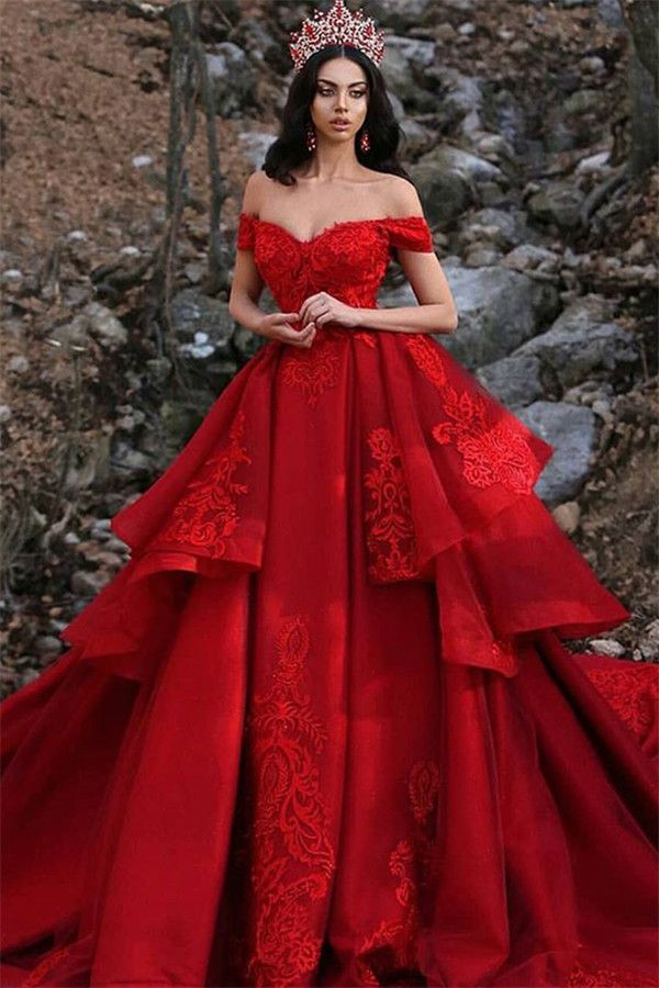 Resultado de imagen para Red Ruffles Ball Gown Wedding Dresses | Off The Shoulder Lace Appliques Bridal Gown