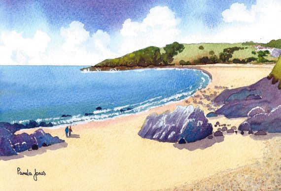 Limited Edition watercolour Print....Rotherslade Bay, Gower, South Wales