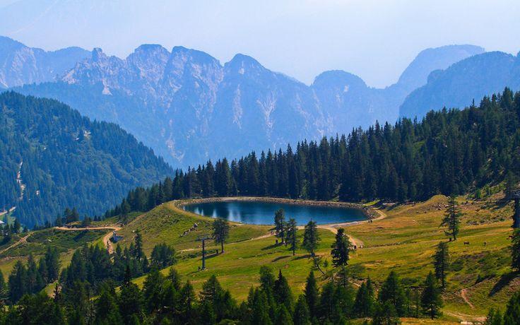 небо, горы, деревья, пруд, бассейн