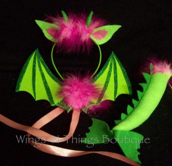 DRAGON DINOSAUR COSTUME 4pc Tutu Dress Set w/ by wingsnthings13