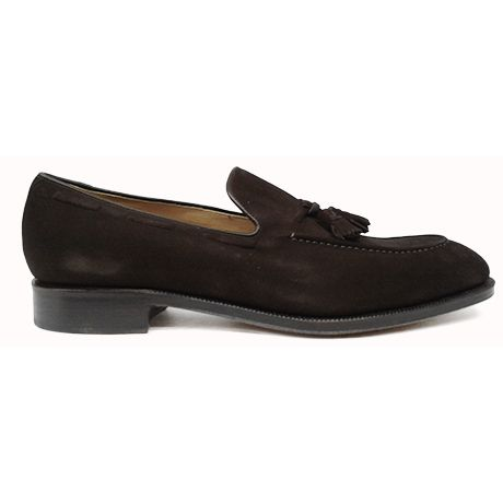 Zapato  mocasín tassel en ante marrón de Yanko vista lateral