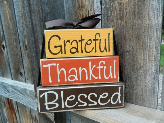 Reversible Thanksgiving and Christmas stacker--Grateful, Thankful, Blessed & Believe in the Magic of Christmas wood blocks