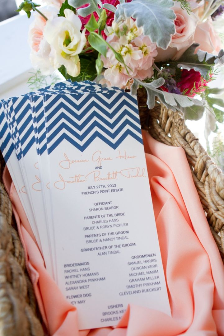 Navy chevron wedding programs // Photo by Robin Nathan Photography, via http://theeverylastdetail.com/modern-elegant-peach-navy-maine-wedding/