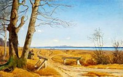 Johan Thomas Lundbye (1818-1848): Wintry scene without snow. View of the Julebæk bridge towards Kullen and Höganäs, Sweden