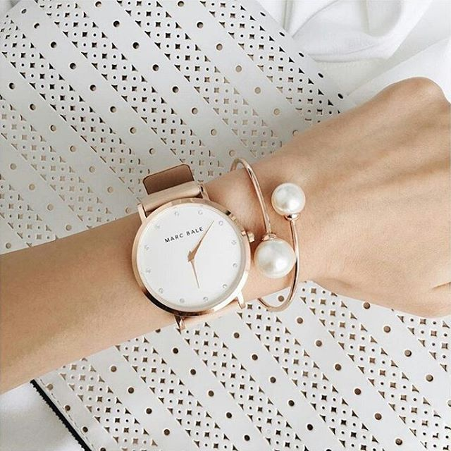 Marc Bale Rose Gold Crystal timepiece with Peach Leather Strap and Pearl Embrace…