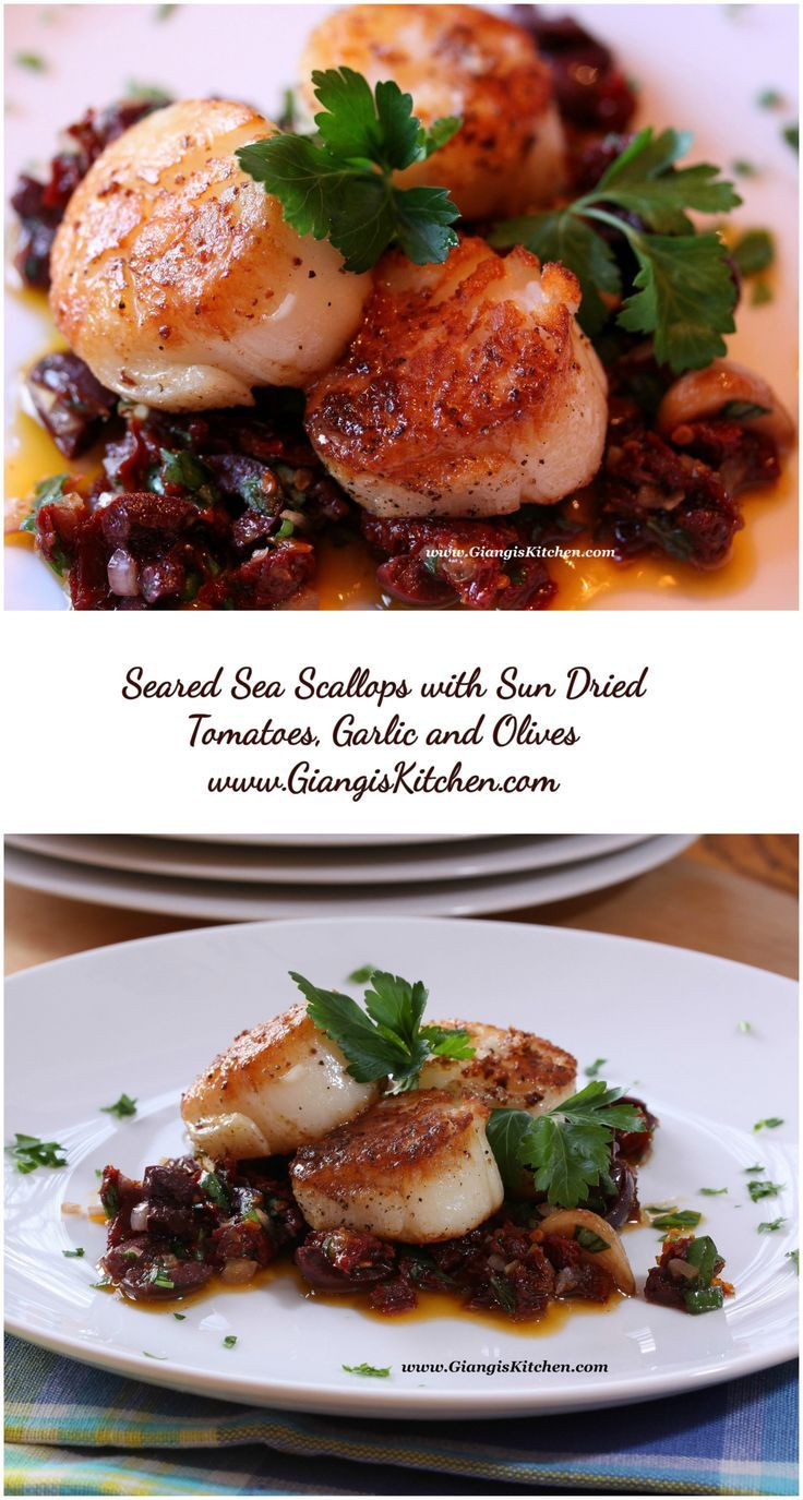 Seared Sea Scallops with Sun Dried Tomatoes, Garlic and Olive Compote. www.GiangisKitchen.com