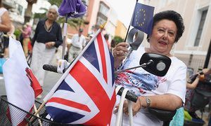 A remain voter on the day of the EU referendum in Gibraltar.