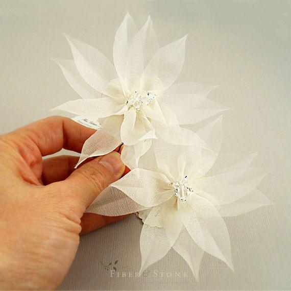 Pure Silk Bridal Hair Flower Beach Wedding Hair by FiberStone