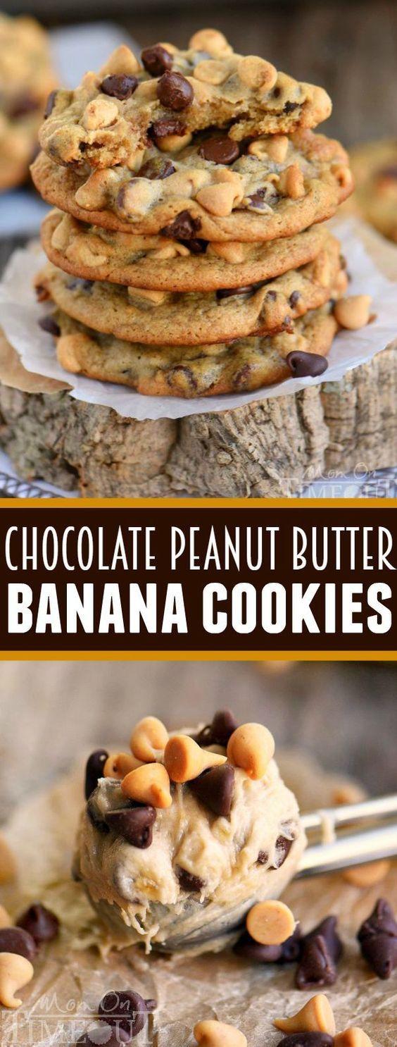 Chocolate Peanut Butter Banana Cookies