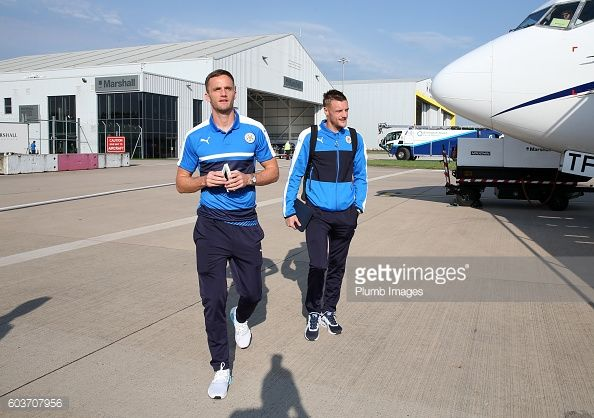 News Photo : Jamie Vardy and Andy King of Leicester City board...