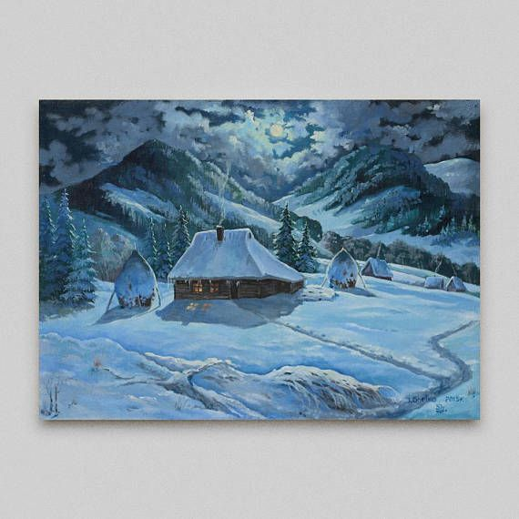 Original painting Snow mountains Oil painting Winter Night Original artwork, #Winter_landscape, #Original_painting, #Snow_mountains, #Realism ,#buy_painting_online ,#Paintings_for_sale, #painting_mountain #Winter_Night #art #wall_art