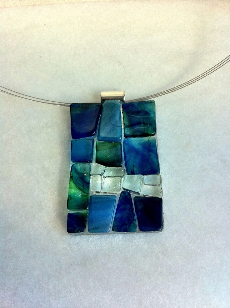 Modern mosaic glass on glass pendant. $35.00, via Etsy.
