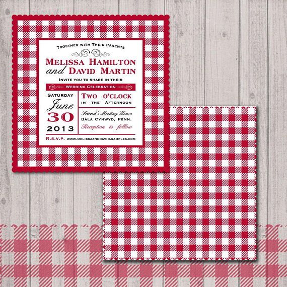 Backyard picnic wedding invitation, red gingham napkin invitation.  Includes: - 25 printed invitations with 6.5 square envelopes  Specifications: Invitations: - size of invitations is 6x6 inches - 100lb weight cardstock - printed color edge - invitation is NOT layered - digitally