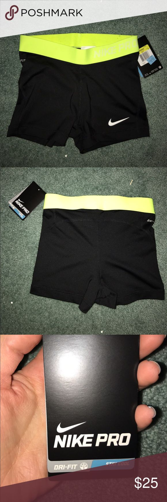 Nike pro spandex shorts Nike pro spandex shorts with neon yellow waistband. Size small. Still has tags on it. Never worn. Nike Shorts