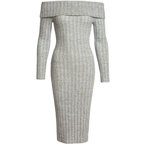 Sans Souci  grey wide rib cowl neck midi dress ($29) ❤ liked on Polyvore featuring dresses, grey, bodycon sweater dress, grey midi dress, midi dress, sweater dresses and gray sweater dress