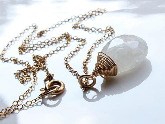Moonstone Necklace Goldfilled wire wrap milky white gemstone