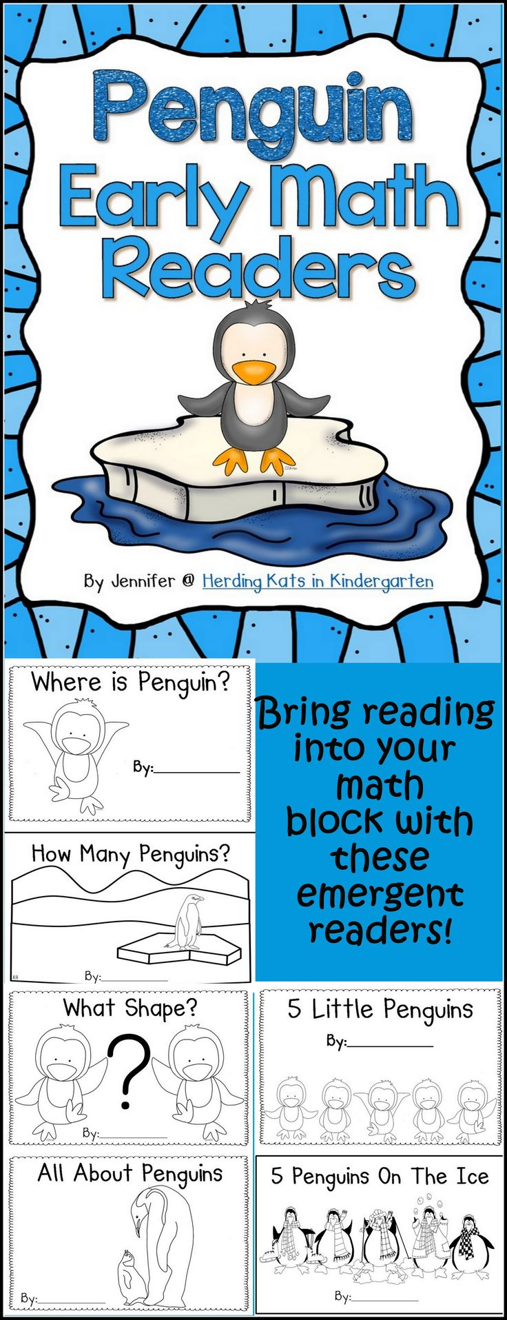 Penguin Early Math Emergent Readers: 5 penguin themed readers with math components! Incorporate reading into your math block and keep that penguin theme going while covering shapes, number words/numerals, early subtraction, positional words and ordinal numbers!