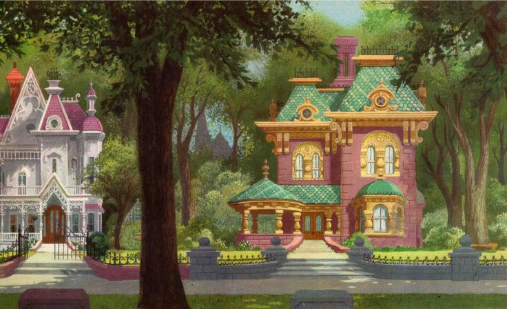 """""""Lady and the Tramp"""" beautiful background painting. Love the colors, light and architecture"""