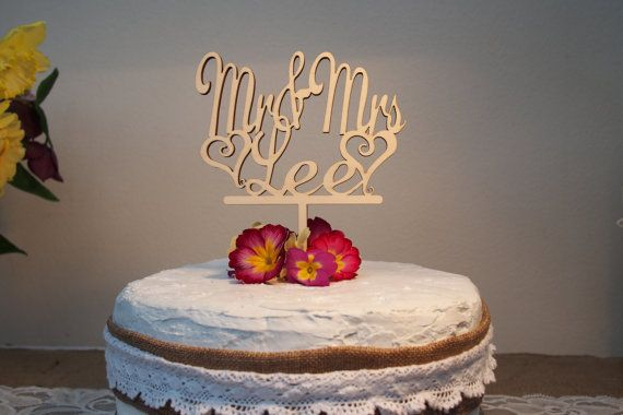 Mr and Mrs Surname Wedding Cake Topper by VictoriasStitches