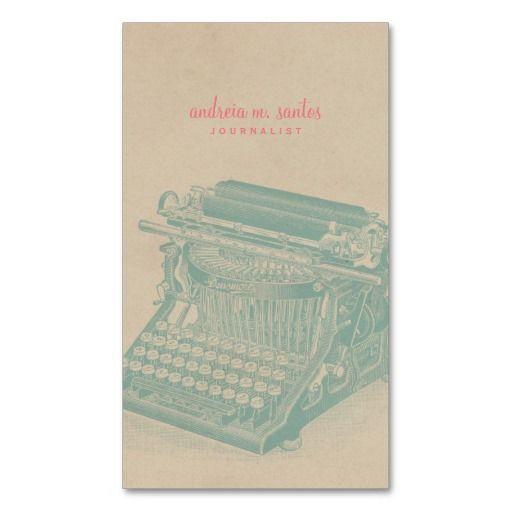 214 best journalistreporter business cards images on pinterest journalist vintage typewriter cool mint modern business card colourmoves