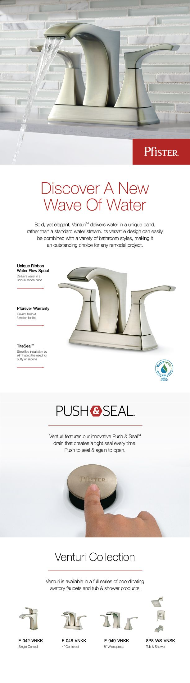 Pfister Venturi 4 in. Centerset 2-Handle Bathroom Faucet in Brushed Nickel-F-048-VNKK - The Home Depot