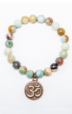 BD Designs Explore Bracelet Amazonite with Bronze Ohm Charm $48 @ www.downdogboutique.com #YogaJewelry #YogaInspiredJewelry #Jewelry