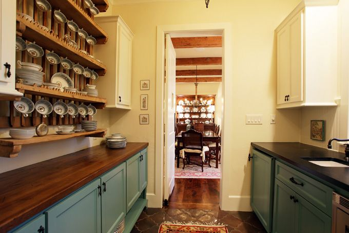 Blue Cabinets, Idea, Wooden Counters, Kitchen Colors, Teal Cabinets