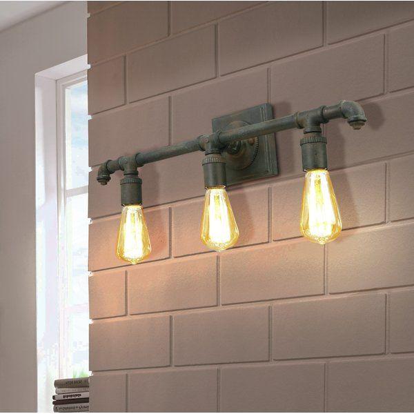 Destefano 3 Light Vanity Light Vanity Lighting Industrial Vanity Light Vintage Bathroom Vanities