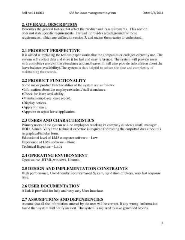 Software Requirements Document Template Document Template Software Requirements Specification Template Word