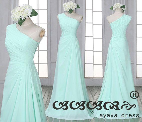 Mint green Bridesmaid Dressone shoulder bridesmaid by ayayadress